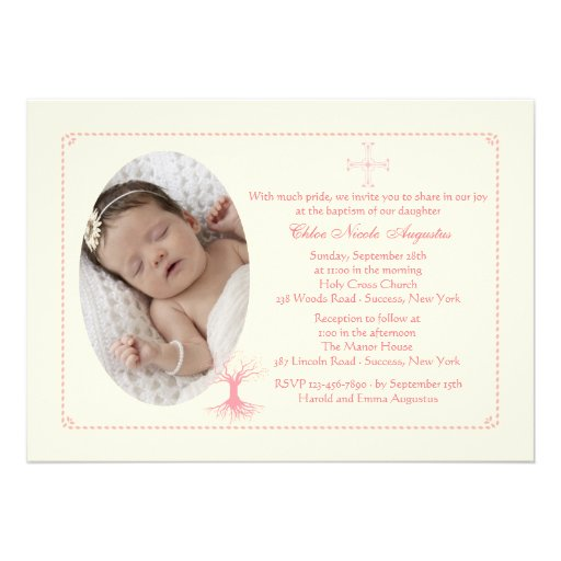 Deep Rooted Pink Baptism Photo Invitation