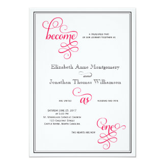 Deep Rose Pink Script Become as One Wedding Cards