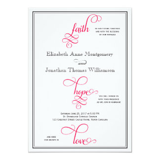 Deep Rose Pink Script Faith Hope & Love Wedding Card