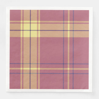 Deep Rose with Yellow Plaid Paper Dinner Napkin