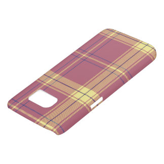Deep Rose with Yellow Plaid Samsung Galaxy S7 Case