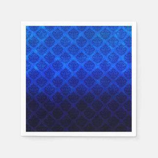 Deep Royal Blue Vintage Damask Grunge Texture Disposable Napkins