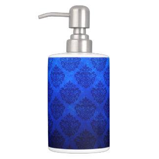 Deep Royal Blue Vintage Damask Grunge Texture Soap Dispenser And Toothbrush Holder