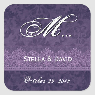 Deep Royal Purple Damask Wedding Square Sticker