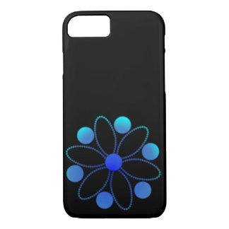 Deep sea blue flowers and circles iPhone 7 case
