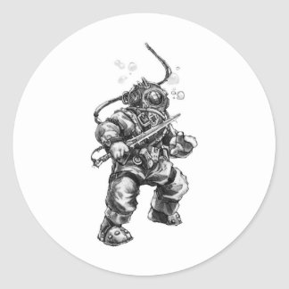 Deep Sea Diver Classic Round Sticker