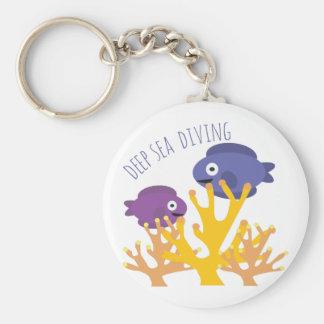 Deep Sea Diving Basic Round Button Keychain