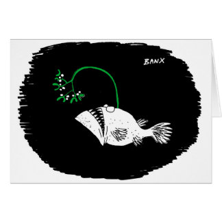 Deep Sea Fish Mistletoe Xmas card