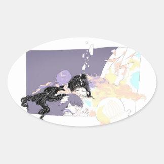 Deep sea oval sticker
