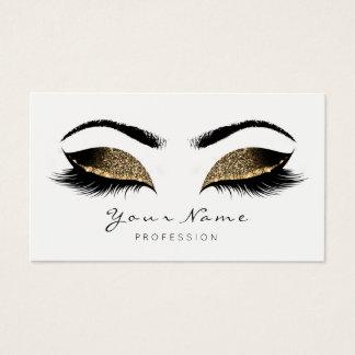 Deep Sepia Glitter Makeup Artist Lash Black White Business Card