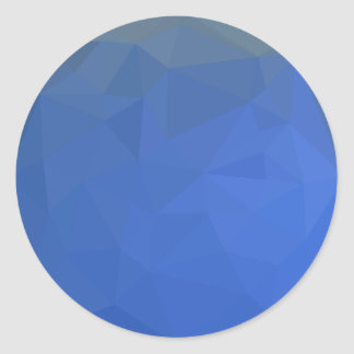 Deep Sky Blue Abstract Low Polygon Background Round Sticker