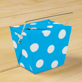 Deep Sky Blue and White Dots Wedding Favor Box