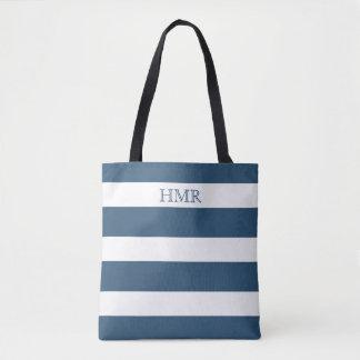 Deep Sky Blue and White Stripe Monogram Tote Bag