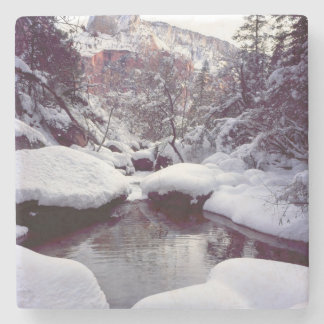 Deep snow at Middle Emerald Pools Stone Coaster