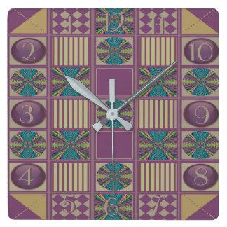 Deep Sound Abstract Quilt Design Backwards Clock