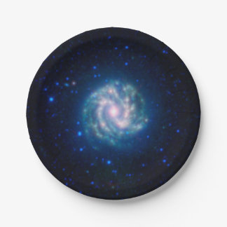Deep Space Blue Spiral Pinwheel Galaxy Paper Plate