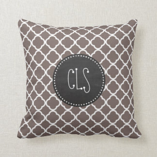Deep Taupe Quatrefoil; Vintage Chalkboard look Throw Pillow