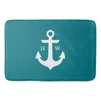 Deep Teal Anchor Monogram Bath Mat