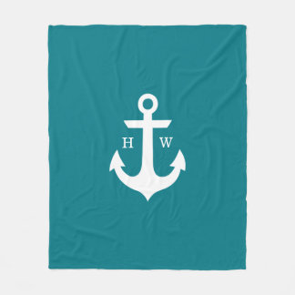 Deep Teal Anchor Nautical Monogram Fleece Blanket