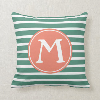 Deep Teal and Terracotta Stripe Monogram Throw Pillow