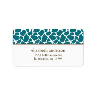 Deep Teal Giraffe Pattern Label