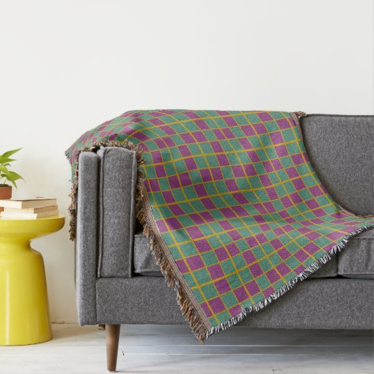 Deep Teal Juicy Berry and Spicy Mustard Tile Plaid Throw Blanket
