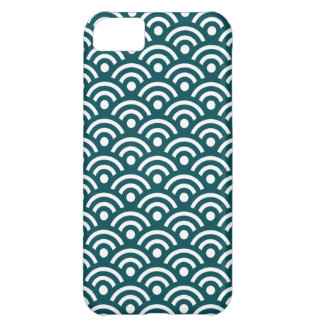 Deep Teal Seigaiha Pattern Iphone 5 Case