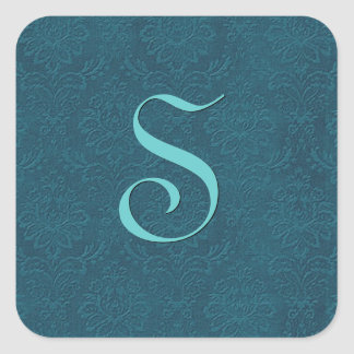 Deep Teal Wedding Monogram Any Letter B576 Square Sticker