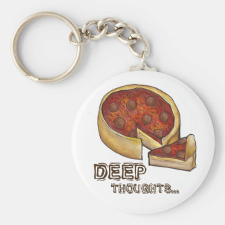 Deep Thought Pepperoni Deep Dish Pizza Keychain