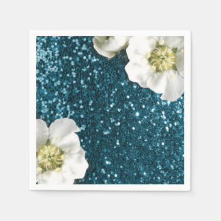 Deep Tiffany Aquatic Beach Jasmine Glitter Sequin Paper Napkin