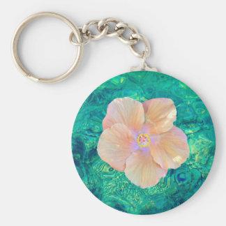 Deep turquoise ocean water, hibiscus keychain