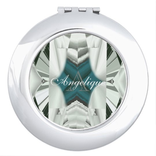 Deep Turquoise with White and Black Monogram Makeup Mirror