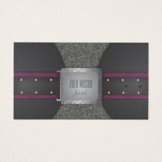 Deep violet and black leather belt business card