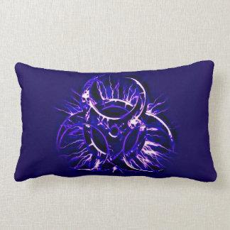 Deep violet biohazard toxic warning sign symbol lumbar pillow