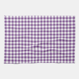 Deep Violet Purple and White Gingham Pattern Kitchen Towel