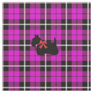 Deep warm Autumn lavender Scottish Terrier plaid Fabric