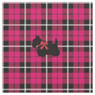 Deep warm Autumn Pink Scottish Terrier plaid Fabric