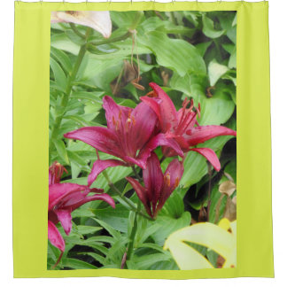 Deep Wine Red Lilies Shower Curtain