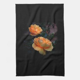 Deep Yellow - Orange Roses, on Black. Kitchen Towel