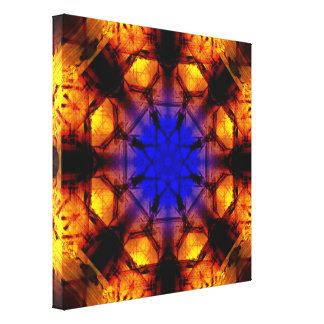 DeepBlue To VibrantOrange Mandala Canvas Print