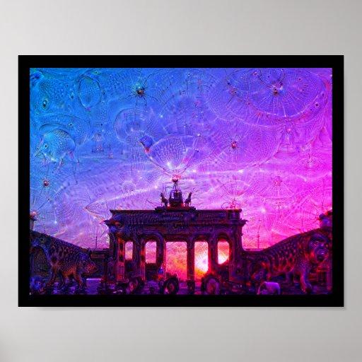 DeepDream Berlin, Brandenburg Gate 02.2.F Poster