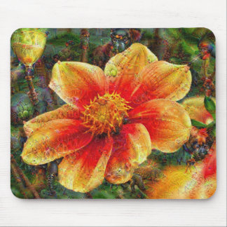 DeepDream Flowers Mouse Pad
