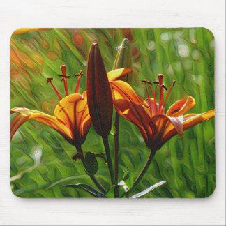 DeepDream Flowers, Orange Lilly, Iris Mouse Pad