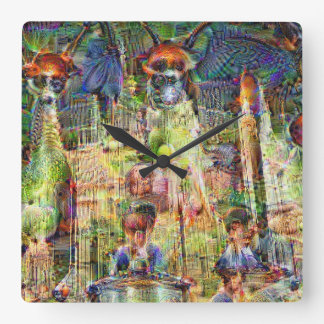 DeepDream Pictures, Cathedral 1.2s Square Wall Clock