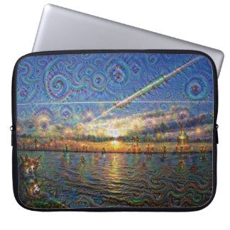 DeepDream Pictures, Sunrise at lake Laptop Sleeve