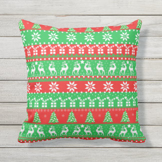 Deeps, cute New Year, ugly, pixel pattern Throw Pillow