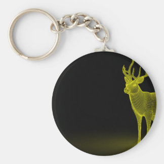 Deer abstract basic round button keychain