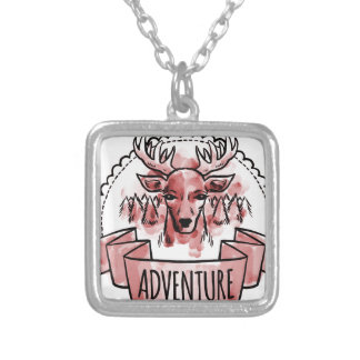 Deer Adventure Badge Silver Plated Necklace