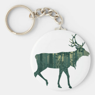 Deer and Abstract Forest Landscape 2 Keychain