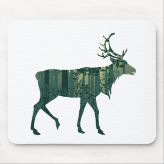 Deer and Abstract Forest Landscape 2 Mouse Pad